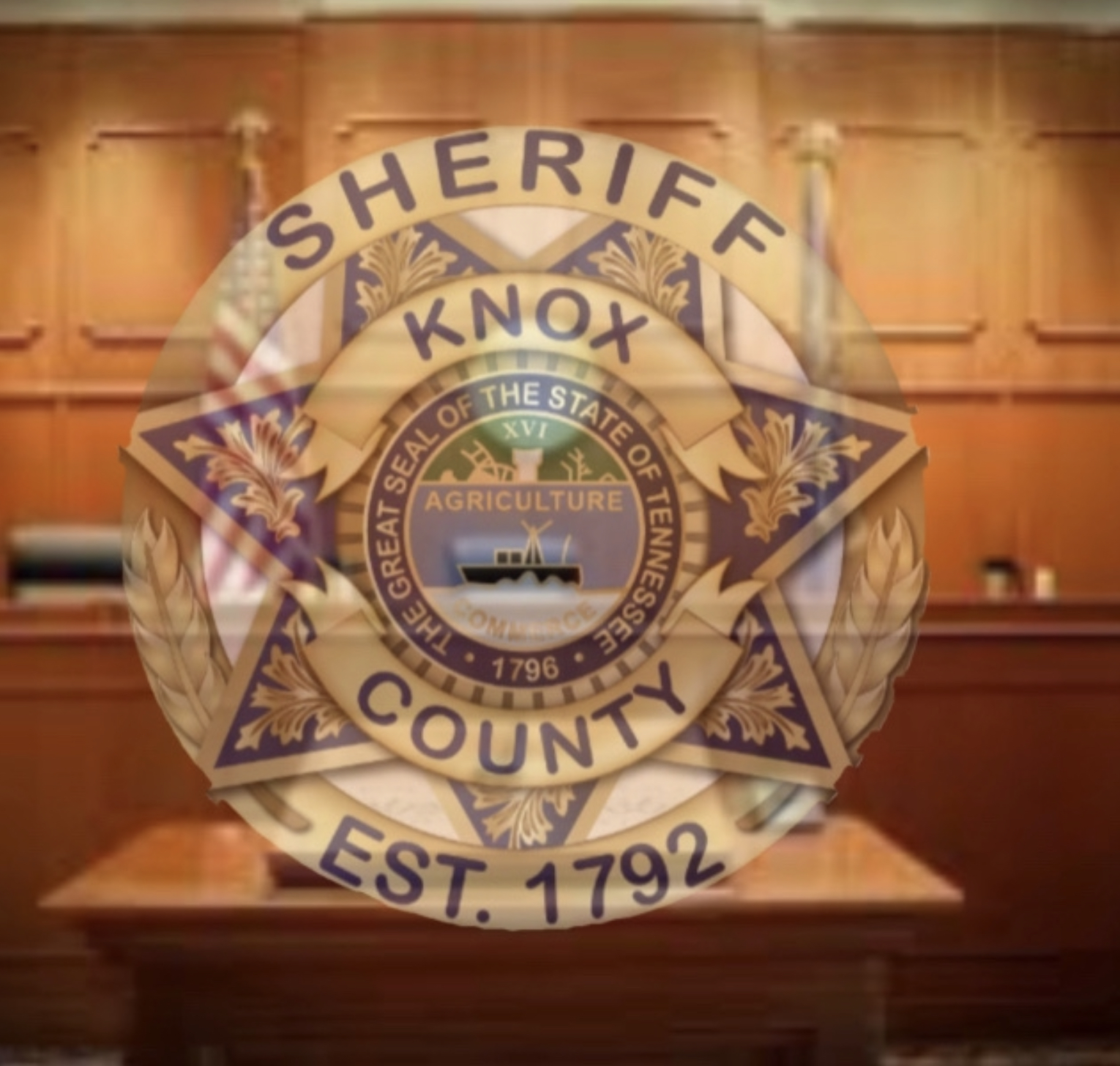 KCSO badge overlay court bench