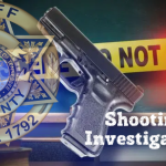 """""""Shooting Investigation"""" with pistol, KCSO badge, and crime tape background"""