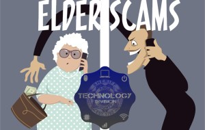 """""""Elder Scams"""" with clipart of man taking money from elderly woman's purse and Technology Division badge"""