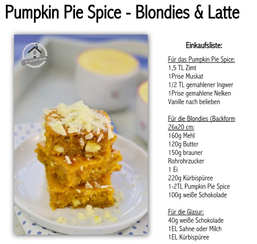 Pumpkin Pie Spice Blondies Latte