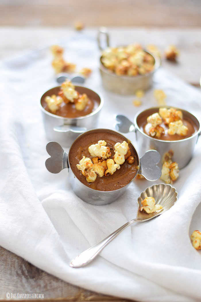 Schoko Mousse Pudding Toffee und Karamell Popcorn 3-1