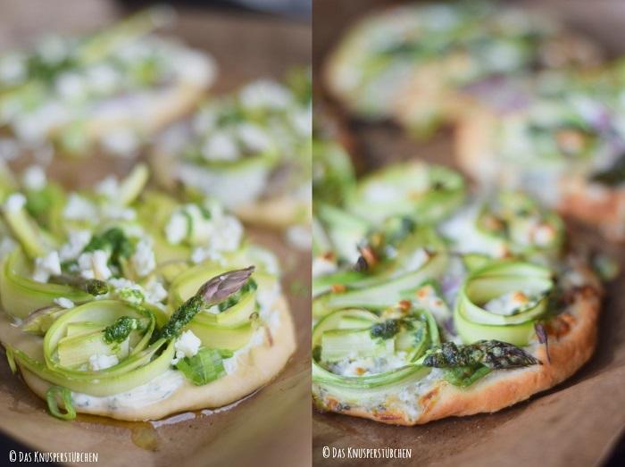 Mini Spargel Pizza mit Basilikum Tupfen 1