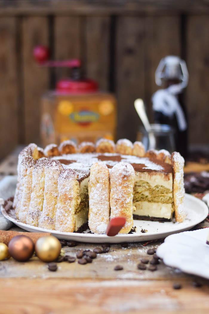 Tirmaisu Cheesecake Charlotte - Kaffee Kuchen mit Löffelbiskuit und Kaffeelikör (18)