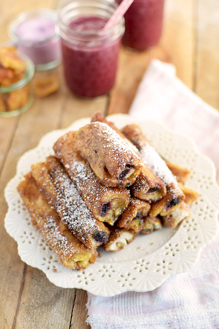 French Toast Zimt Blaubeer Roll Ups - French Toast Cinnamon Blueberry Rolls Ups (9)