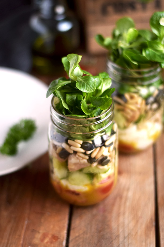 Honig Senf Salat im Glas - Honey Mustard Salad in a jar - Honey Mustard Dressing (2)