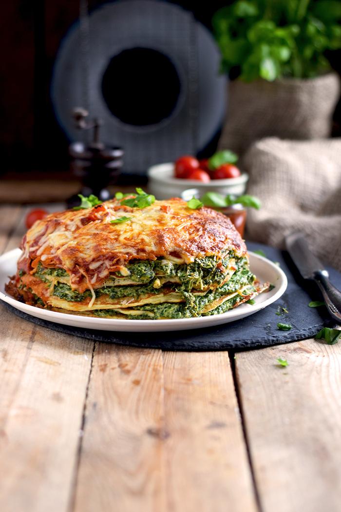 Pancake Stack mit Spinat - Herzhafter Pfannkuchen Turm mit Spinat (18)