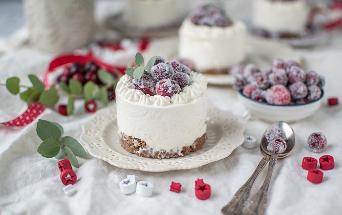 Frischkäse-Parfait-Törtchen mit gezuckerten Cranberries