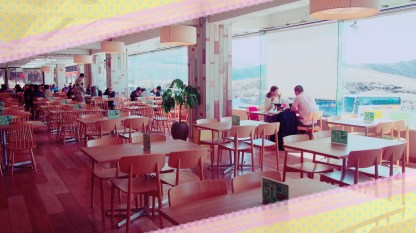 We sat down in the right most cafe which has an spacious food hall and glass windows that diners could have lunch with the view of the volcano