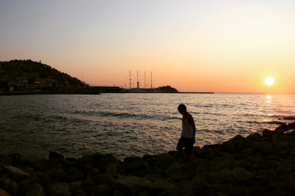 Walking down the Kuşadası promenade during Sunset