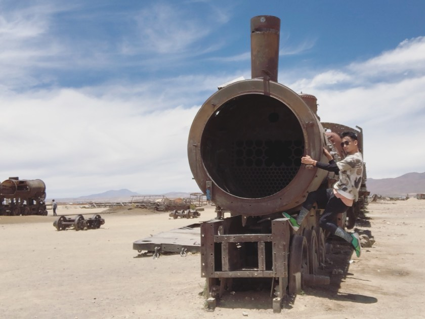 The antique train cemetery is a major attraction in town and it's about 3 kilometers outside Uyuni. Uyuni has a history of mining and minerals transportation where the train carried minerals to ports near the Pacific Ocean.