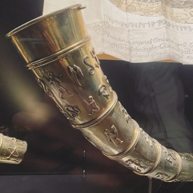 The Golden Horns - Replicas of National Treasures. The gold drinking horns are replicas. The originals were unearthed in 1639 and handed over to the king in 1743. But on May 4th, 1802 they were stolen from The Ling's Curiosities. For a whole year, there was no trace of the horns or the thief. While the police tried to solve the mystery, the Danish poet Adam Oehlenschlager wrote a famous poem about these national treasures. The thief was found the following year - a poor goldsmith called Niels Heidenreich who had melted them down to make earrings and buckles. The Golden Horns were gone forever, but from the 1850s they became a symbol of Danish identity and Denmark's magnificent ancient past.