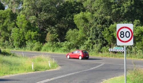 Typical NSW country road - dual carriage with soft edges and lots of vegetation.