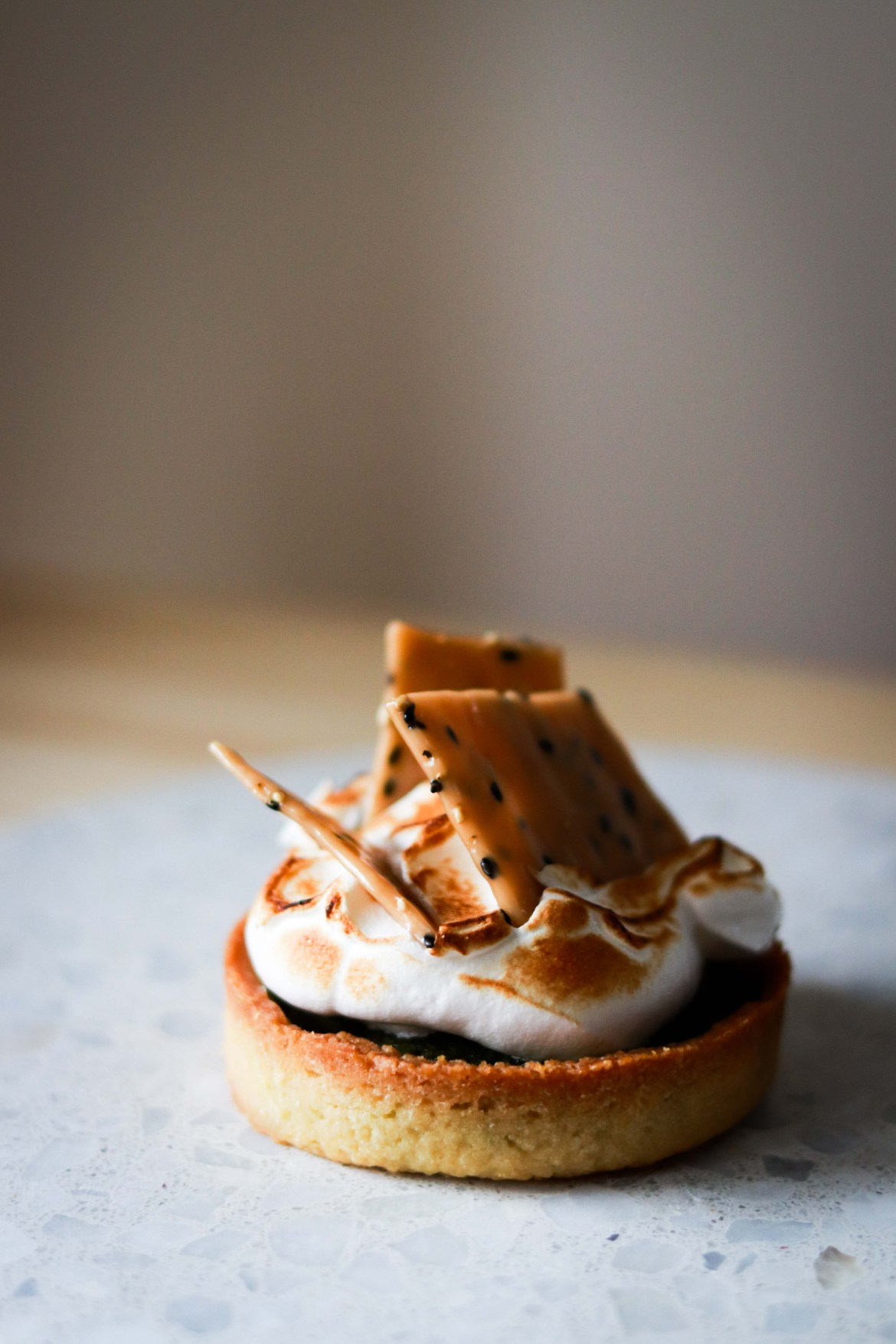 Matcha Almond Tart with Swiss Meringue and Sesame Brittle
