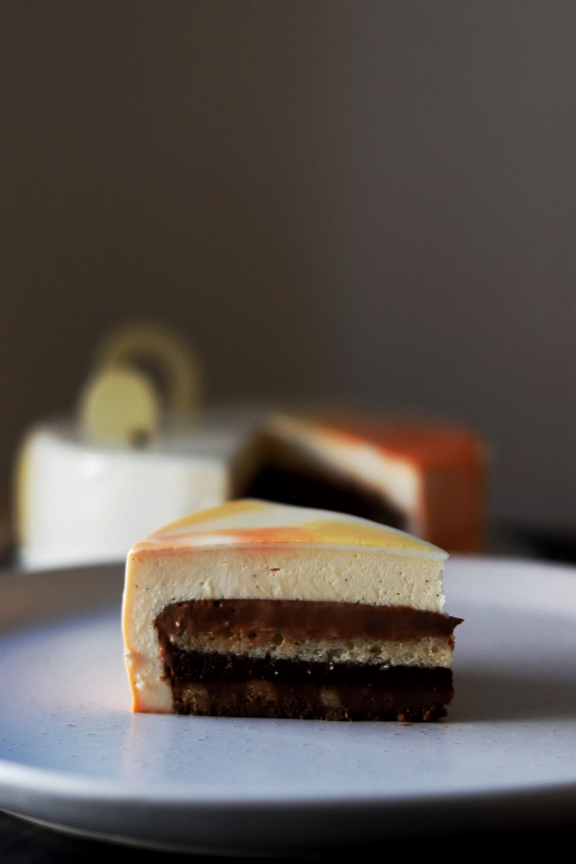 passionfruit and white chocolate entremet