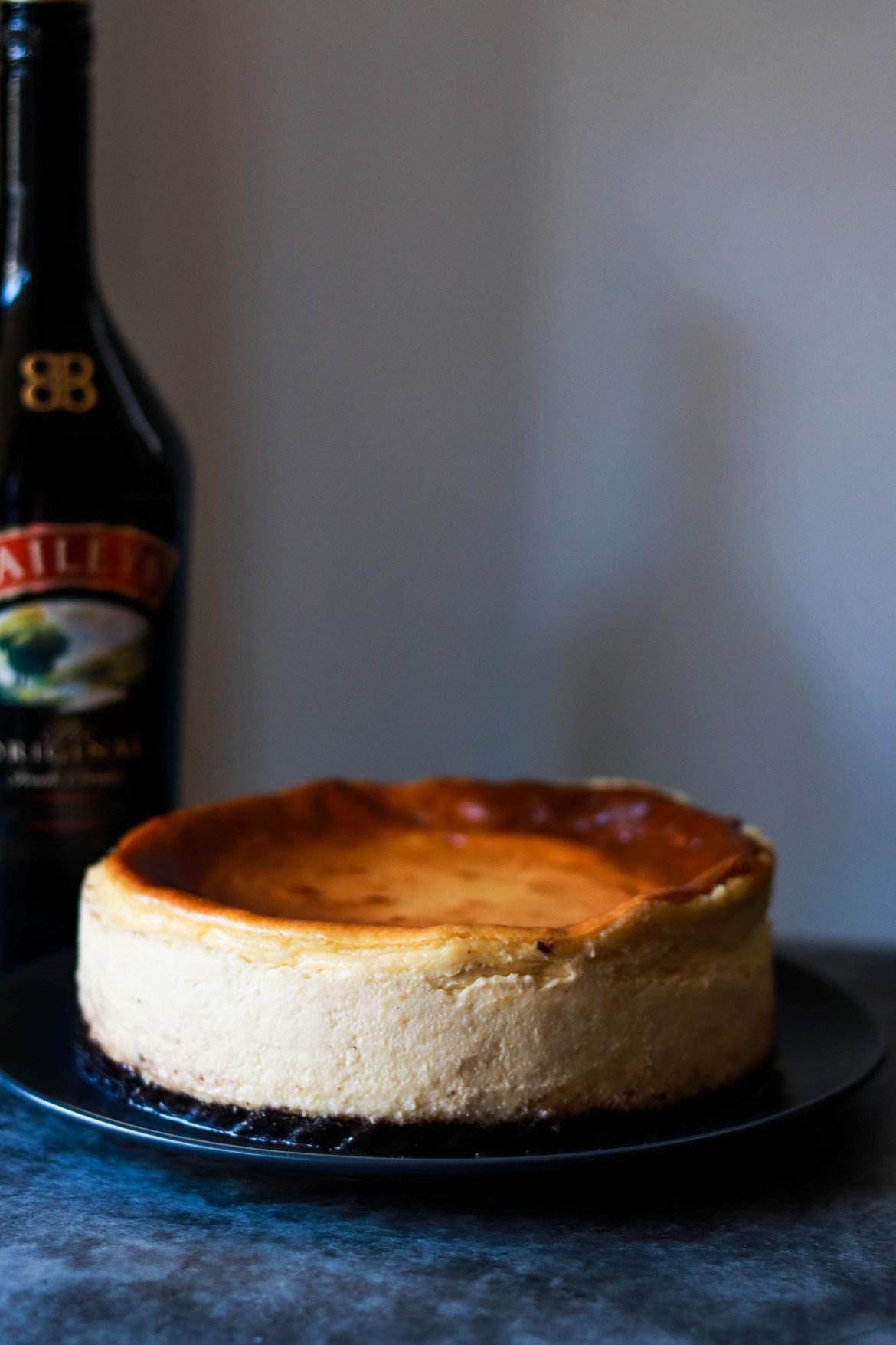 Baked Bailyes Cheesecake with Oreo Base