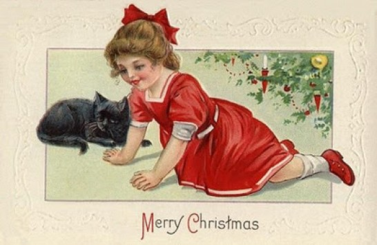 vintage-victorian-christmas-card-black-cat-little-girl-red-dress-xmas-tree