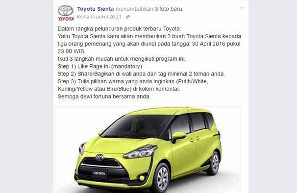 penipuan Undian-berhadiah-Toyota-Sienta.-Facebook