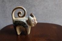 SOHOLM スーホルム窯 1960年代以前の代表作 くるくるしっぽの猫のフィギュア 立ってるタイプ