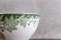 カフェオレボウル その23  実のある植物柄 グリーン単色