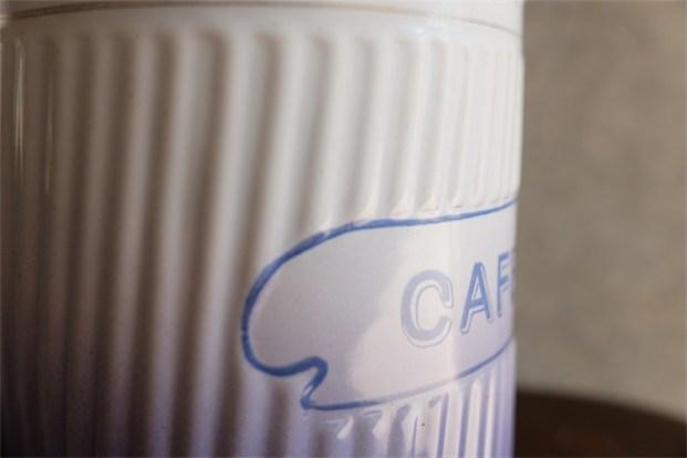 蓋なし単品 フランス アンティークホーローキャニスター BB社 パープルグラデーション CAFE