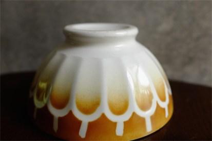 カフェオレボウル その33 Luneville(リュネヴィル)製 うろこ柄 オレンジブラウンカラー
