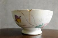 カフェオレボウル その32 Souvenir de mes Aoces (?)と書かれた古い花柄のボウル