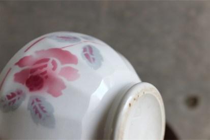 アンティークミニカフェオレボウル その19 Lunevilleリュネヴィル(刻印なし) 薔薇のプリント柄 No.7のプリントあり
