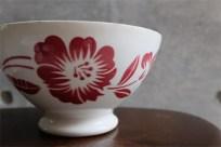 アンティークカフェオレボウル その64 フランス DIGOIN(ディゴアン)社製 赤単色の花柄 特大サイズ