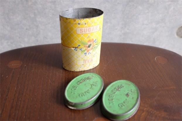 アンティーク ブリキ(TIN)缶 携帯用紅茶と砂糖入れ 英国製 TEA AND SUGAR BOX