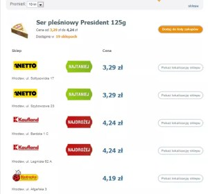 Porównanie cen w różnych sklepach