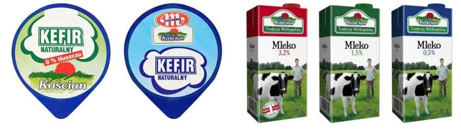 Wyroby mleczarni Kościan - mleko i kefity