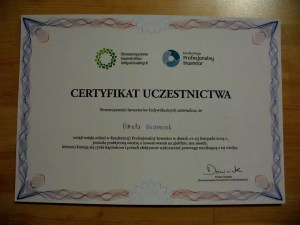 Certyfikat uczestnictwa - Konferencja Profesjonalny Inwestor
