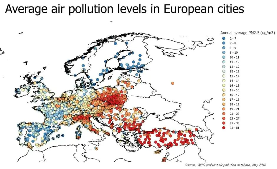 Źródło: WHO Global Urban Ambient Air Pollution Database (update 2016).