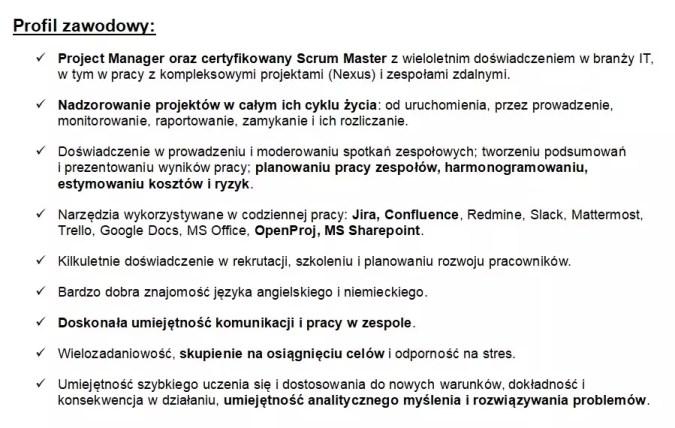 Przykład curriculum vitae - sekcja profil zawodowy
