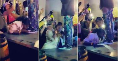 Good Looking Lady Lick Rapper Riky Rick Shoes During Stage Performance - Video