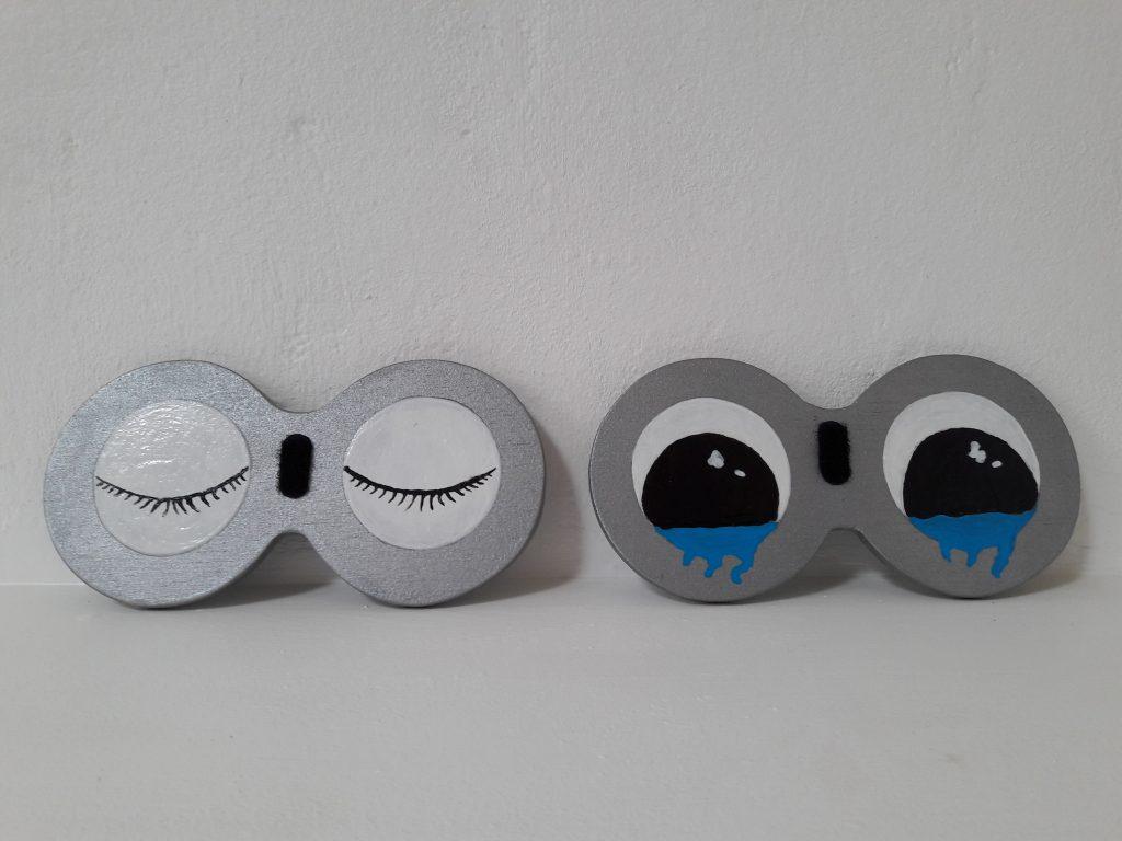 set d'expressions peintes sommeil et pleurs