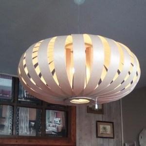 suspension planète SHR65 grande dimension de luminaire en lames de bois,