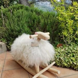 mouton à bascule tout en bois et laine véritable peau