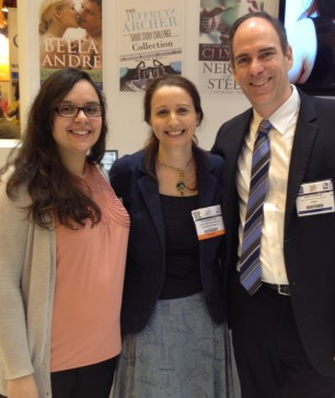 London Book Fair 2013, featuring (left to right) - KWL Merchandiser Shayna Krishnasamy, Joanna Penn, and KWL Director Mark Lefebvre.