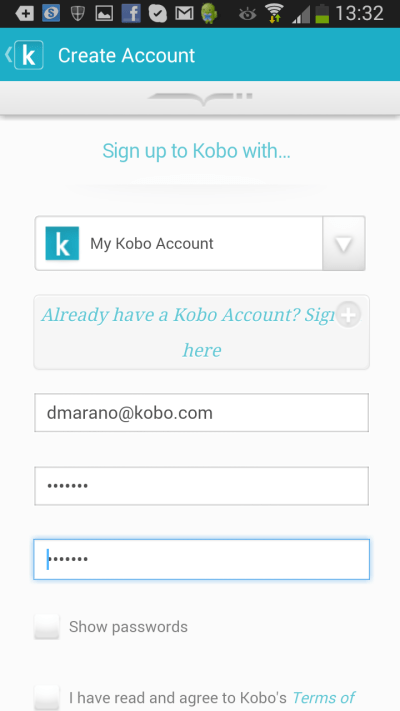 K App Sign up page