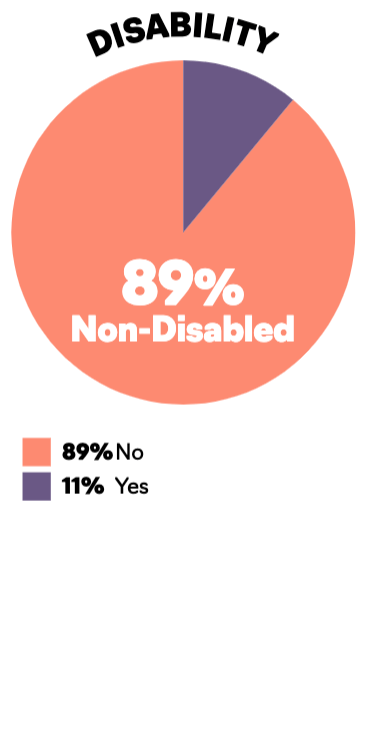 A piechart comparing able bodied employees in publishing (89%) and disabled employees in publishing (11%)