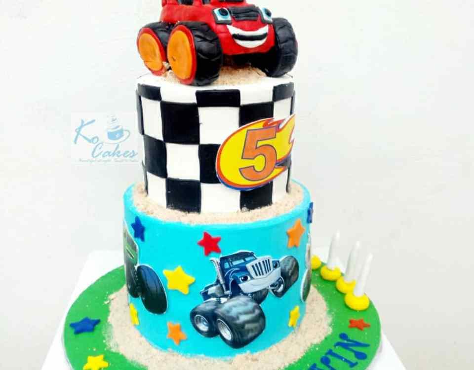 Blaze car birthday cake