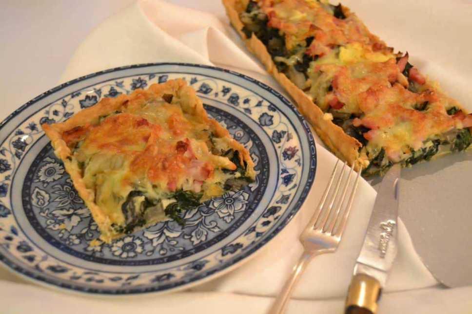 Mangold-Quiche mit Bacon und Comte Käse