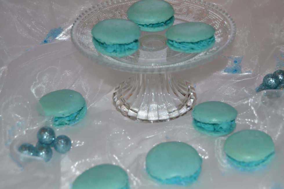 Macarons blue mit Ganache