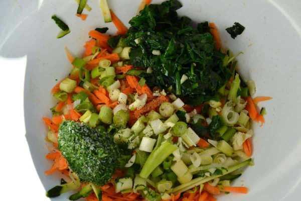 Möhren , Zucchini , Lauchzwiebel , Blattspinat und Dill