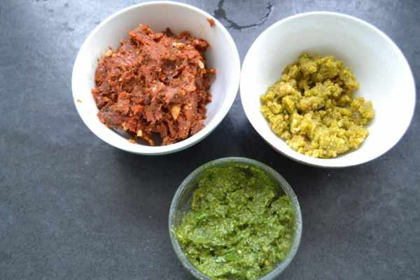 Tomaten , Pistazien , Basilikum Pesto