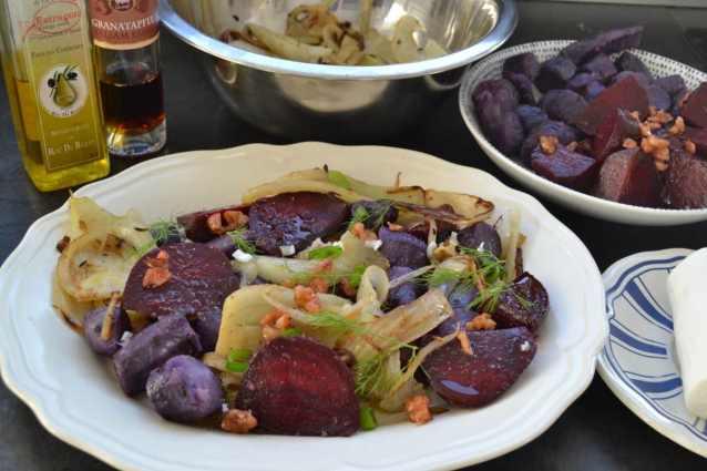 lauwarmer Fenchelsalat mit rote Bete, Trüffelkartoffeln , Ziegenkäse und