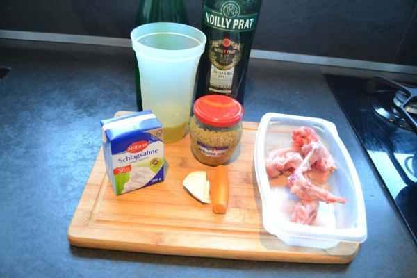 Kaninchen , Sahne , Senf ,Möhre , Sellerie