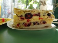 Mein Frühstück: das Gebäck Mille Feuille (heißt übersetzt tausend Schichten)