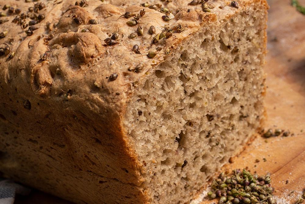 Brot mit Breitwegerich-Früchten